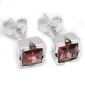 Garnet 925 Sterling Silver Earrings Jewelry E2334G