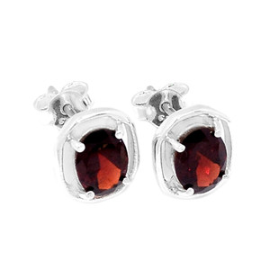 SSS Garnet 925 Sterling Silver Earrings Jewelry E2346G