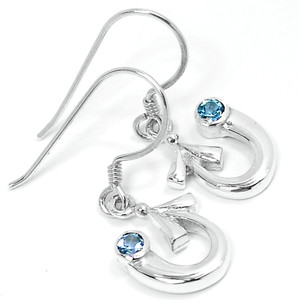 Blue Topaz 925 Sterling Silver Earrings Jewelry E2309B
