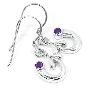 Amethyst 925 Sterling Silver Earrings Jewelry E2309A