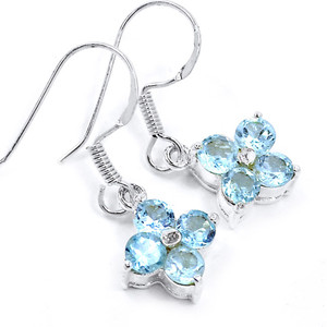 Blue Topaz 925 Sterling Silver Earrings Jewelry E2326B