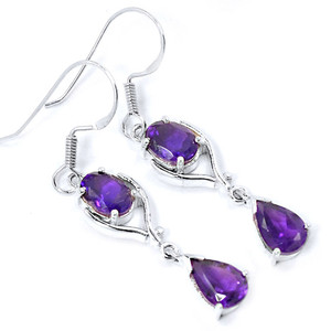 Amethyst 925 Sterling Silver Earrings Jewelry E2323A