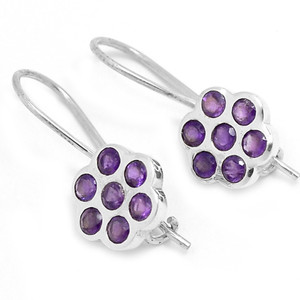Amethyst 925 Sterling Silver Earrings Jewelry E2331A