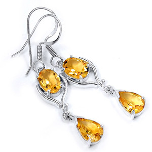 Citrine 925 Sterling Silver Earrings Jewelry E2323C