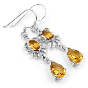 Citrine 925 Sterling Silver Earrings Jewelry E2312C