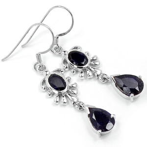 Iolite 925 Sterling Silver Earrings Jewelry E2312I
