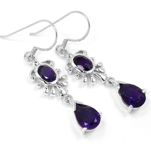 Amethyst 925 Sterling Silver Earrings Jewelry E2312A