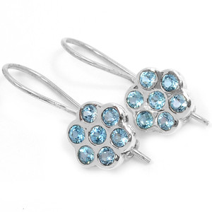 Blue Topaz 925 Sterling Silver Earrings Jewelry E2331B