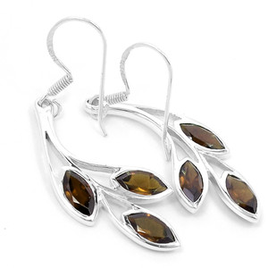 Smokey Quartz 925 Sterling Silver Earrings Jewelry E2338S