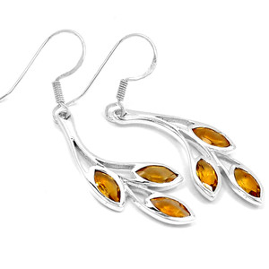 Citrine 925 Sterling Silver Earrings Jewelry E2338C