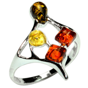 2.4g Authentic Baltic Amber 925 Sterling Silver Ring Jewelry s.5.5 A7363S55