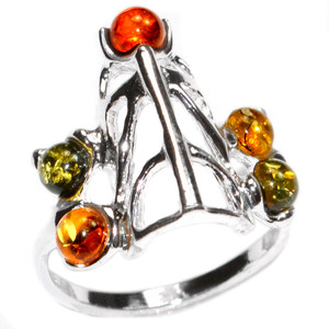 3.0g Authentic Baltic Amber 925 Sterling Silver Ring Jewelry s.7 A7449S7