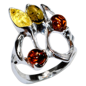 4.4g Authentic Baltic Amber 925 Sterling Silver Ring Jewelry s.5 A7274S5