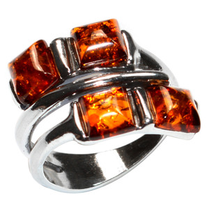 5.6g Authentic Baltic Amber 925 Sterling Silver Ring Jewelry s.6.5 A7469S65