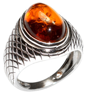 5.9g Authentic Baltic Amber 925 Sterling Silver Ring Jewelry s.7 A7434S7
