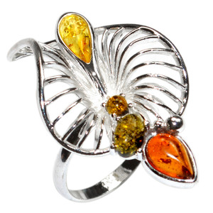 6.0g Authentic Baltic Amber 925 Sterling Silver Ring Jewelry s.5.5 A7326S55