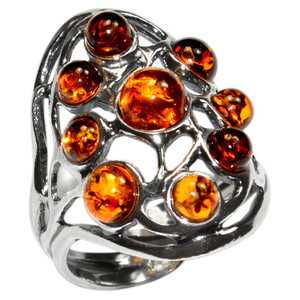 6g Authentic Baltic Amber 925 Sterling Silver Ring Jewelry s.5 A7356S5