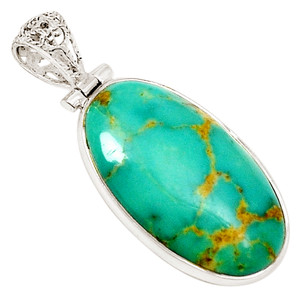 Blue Turquoise 925 Sterling Silver Pendant  Jewelry 10648P