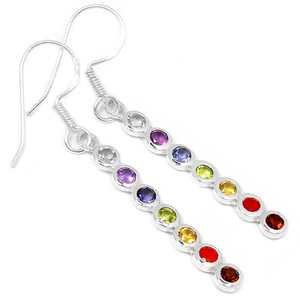 Healing Chakra 925 Sterling Silver Earrings Jewelry CP184