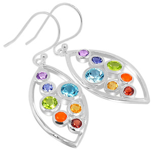 Healing Chakra 925 Sterling Silver Earrings Jewelry CP229