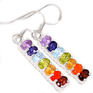 Healing Chakra 925 Sterling Silver Earrings Jewelry CP150