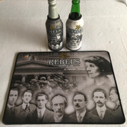 irish rebels mat and 2 beer coolers, rubber bottom stitched edges size 30x40  machine washable table mat size or mouse mat