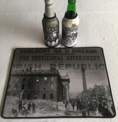 irish rebels mat and 2 beer coolers, rubber bottom stitched edges size 30x40  machine washable table mat size or mouse mat #2