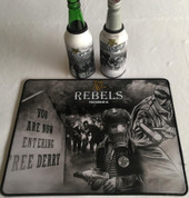 irish rebels mat and 2 beer coolers, rubber bottom stitched edges size 30x40  machine washable table mat size or mouse mat #3