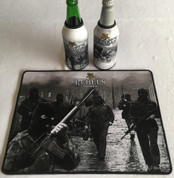 irish rebels mat and 2 beer coolers, rubber bottom stitched edges size 30x40  machine washable table mat size or mouse mat #4