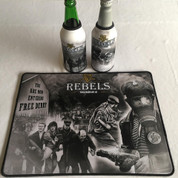 irish rebels mat and 2 beer coolers, rubber bottom stitched edges size 30x40  machine washable table mat size or mouse mat #5