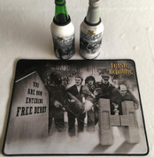 irish rebels mat and 2 beer coolers, rubber bottom stitched edges size 30x40  machine washable table mat size or mouse mat #6