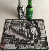 lisbon lions mat and 2 beer coolers, rubber bottom stitched edges size 30x40  machine washable table mat size or mouse mat #2