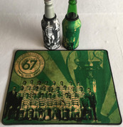 lisbon lions mat and 2 beer coolers, rubber bottom stitched edges size 30x40  machine washable table mat size or mouse mat #3