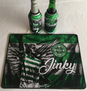 jinky  mat and 2 beer coolers, rubber bottom stitched edges size 30x40  machine washable table mat size or mouse mat #5
