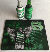 jinky mat and 2 beer coolers, rubber bottom stitched edges size 30x40  machine washable table mat size or mouse mat #8