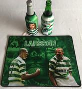 larsson mat and 2 beer coolers, rubber bottom stitched edges size 30x40  machine washable table mat size or mouse mat #9