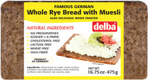 Delba Famous German Whole Rye Bread with Muesli 16.75oz (475g)