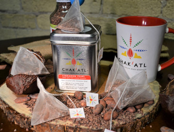 CHAK'ATL - Cinnamon Pearl - Cocoa Bean Grind - 18 sachets - serves 36 - 8 ounce cups Each Sachet makes 2 servings Metal Tin