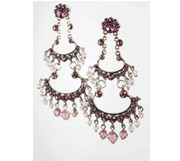 Amethyst Rhinestone Two-Tier Chandelier Earrings.