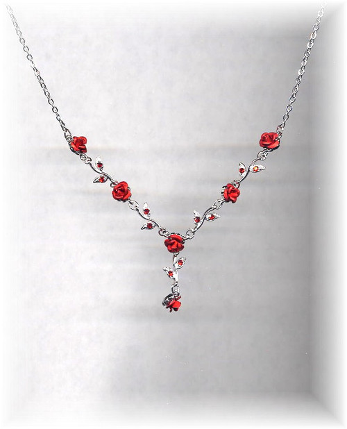 Carmen's Red Roses V Necklace with Rhinestones