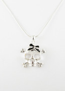 Black Bow Skull Necklace