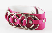 Pink Leather Rock Star Studded Cuff