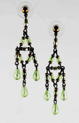 Peridot Green Bohemian Glass Beaded Chandelier Earrings