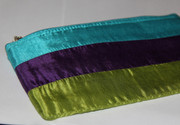Tri-Color Silk Cosmetic Bag / Pouch