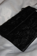 Black Silk Clutch with Beaded and Sequined Design