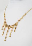 Golden Beaded Five Drops Princess Necklace