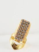 Golden Rhinestone Nail Ring