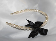 White Pearls Headband with Black Satin Bow