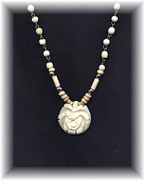 Ivory / Antique White Carved Rose Necklace