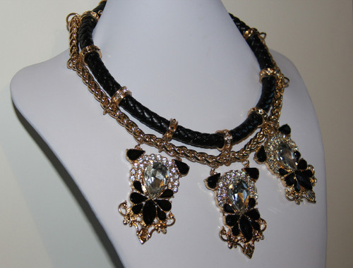 Leather and Rhinestone Gold Accent Statement Necklace